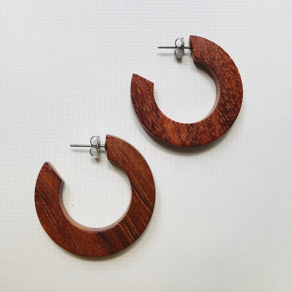 Jewelry - Wooden hoop earring